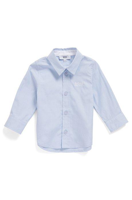 Regular-Fit Kids-Hemd aus Baumwolle mit Logo-Stickerei, Hellblau