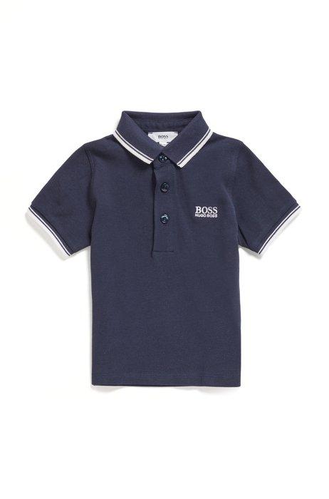 Kids-Poloshirt aus Baumwoll-Piqué mit Logo-Details, Dunkelblau
