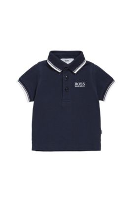 Kids' polo shirt in cotton with short sleeves: 'J05V40', Dark Blue