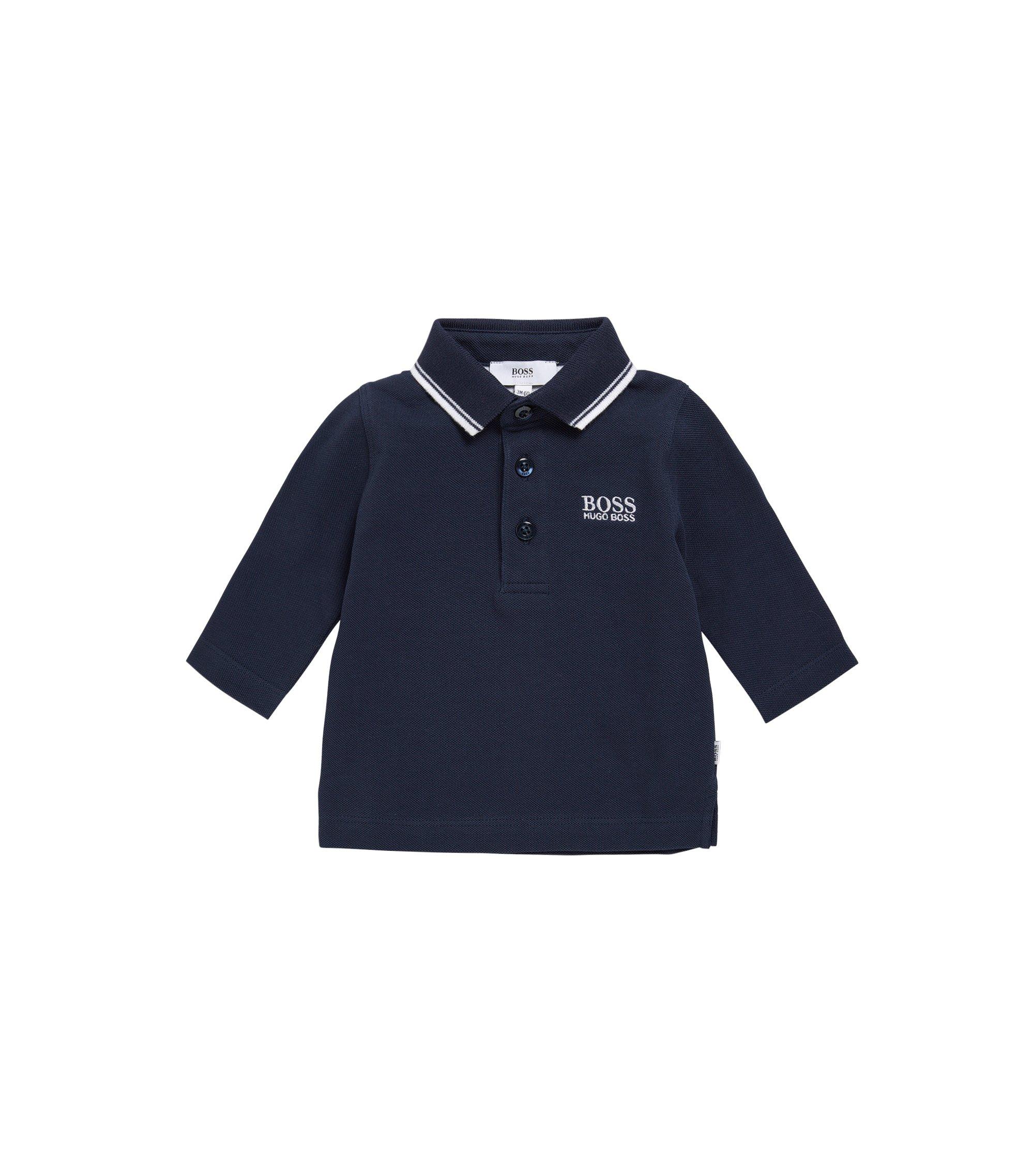 Kids-Poloshirt aus Baumwolle mit langen Ärmeln: 'J05V48', Dunkelblau
