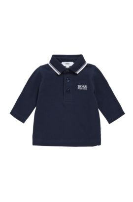 Kids' polo shirt in cotton with long sleeves: 'J05V48', Dark Blue