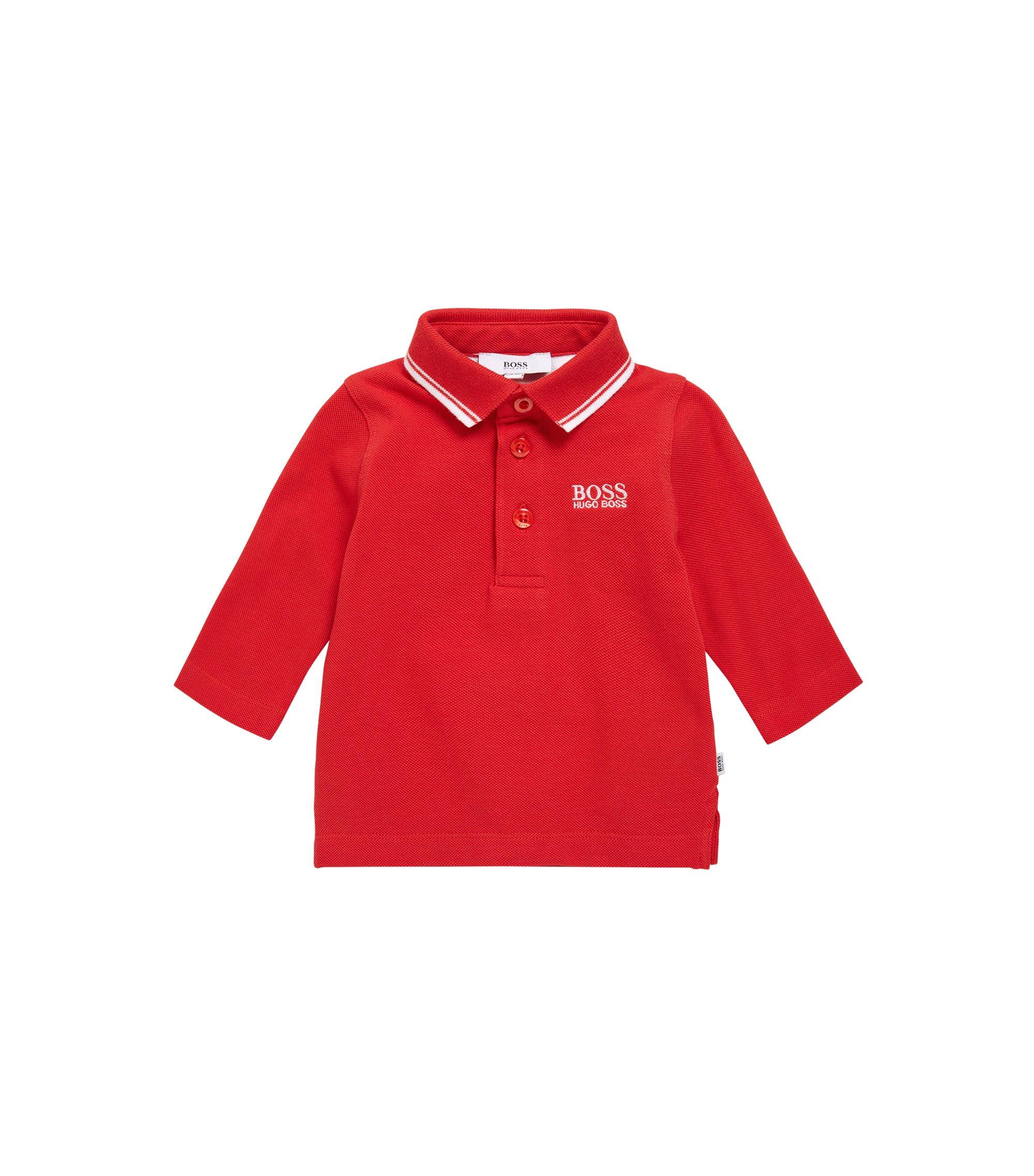 Polo pour enfant à manches longues en coton: «J05V48», Rouge