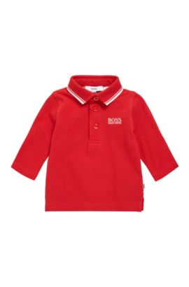 Kids' polo shirt in cotton with long sleeves: 'J05V48', Red