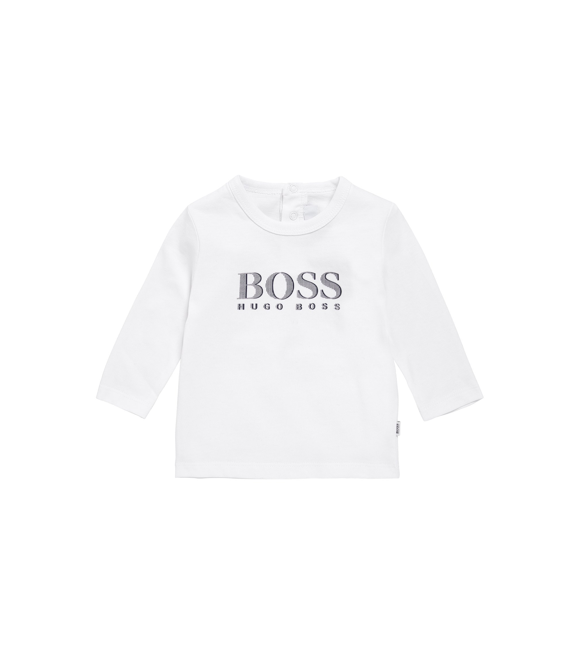 Kids' long-sleeved shirt in cotton with press-stud placket at the back: 'J05V61', White