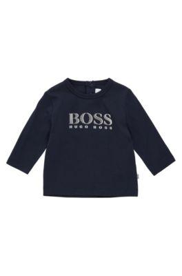 T-shirt à manches longues pour enfant en coton, à patte pressionnée au dos: «J05V61», Bleu foncé