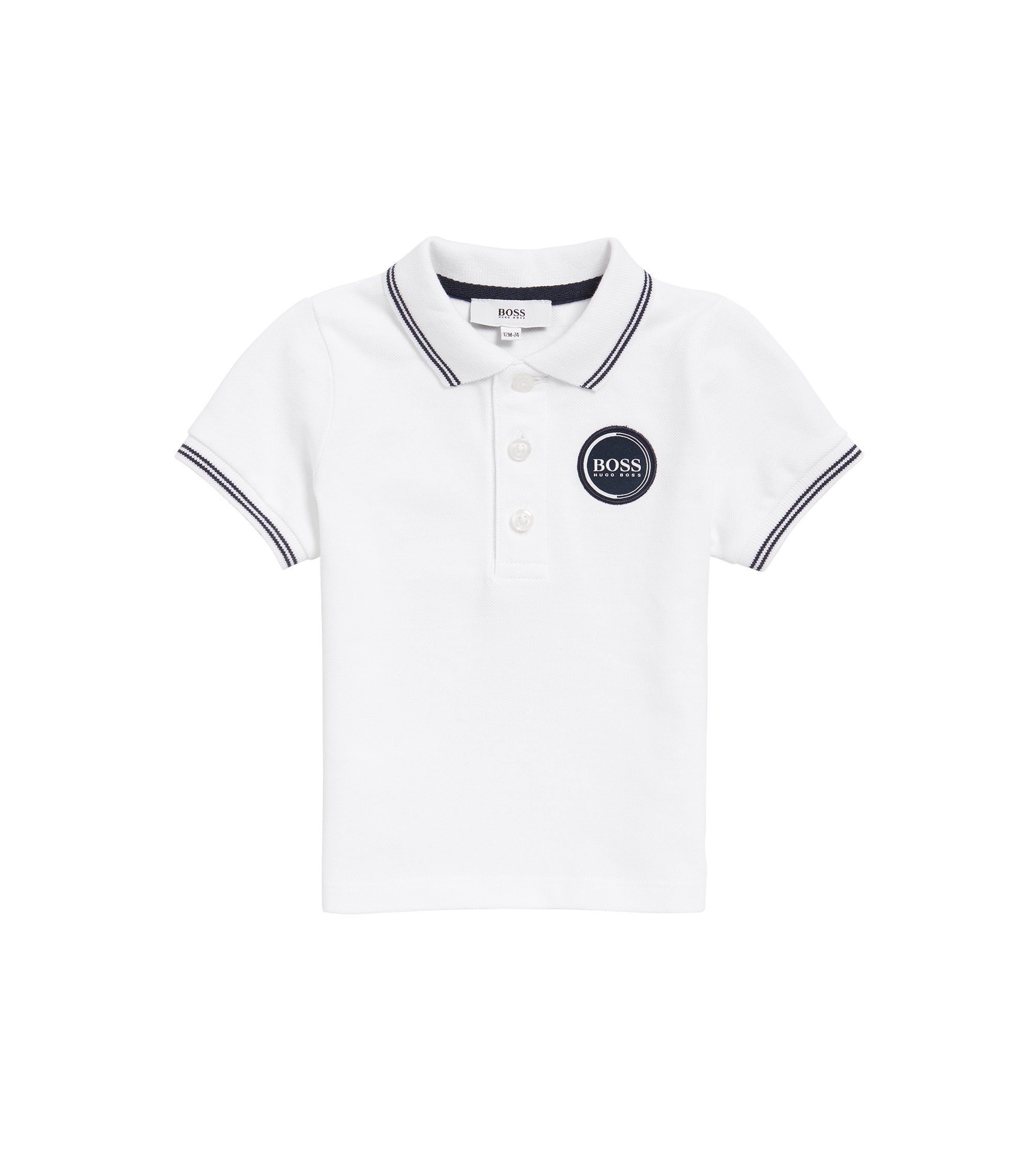Kids' polo shirt in cotton pique with logo badge, White