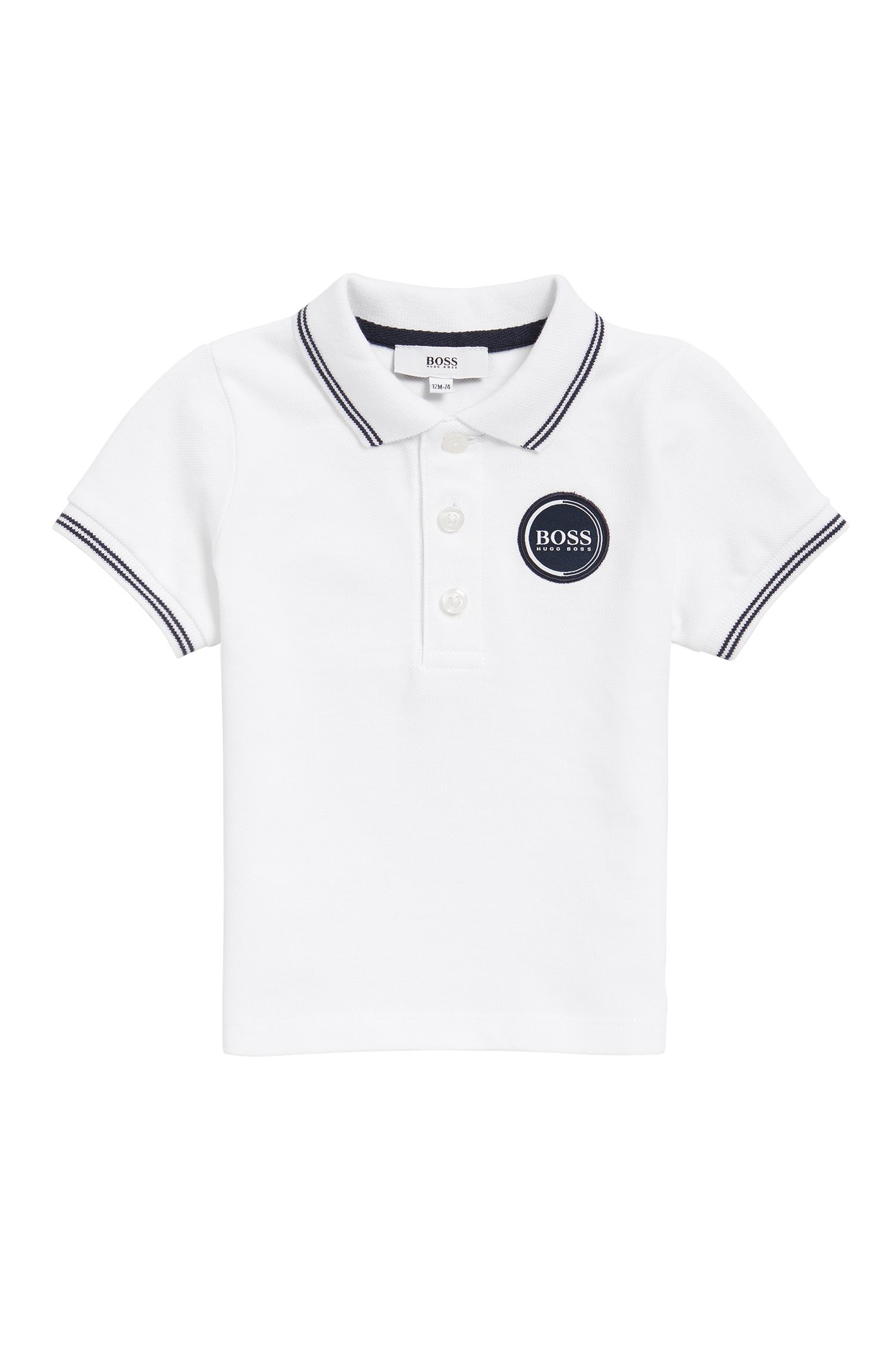 Kids' polo shirt in cotton pique with logo badge