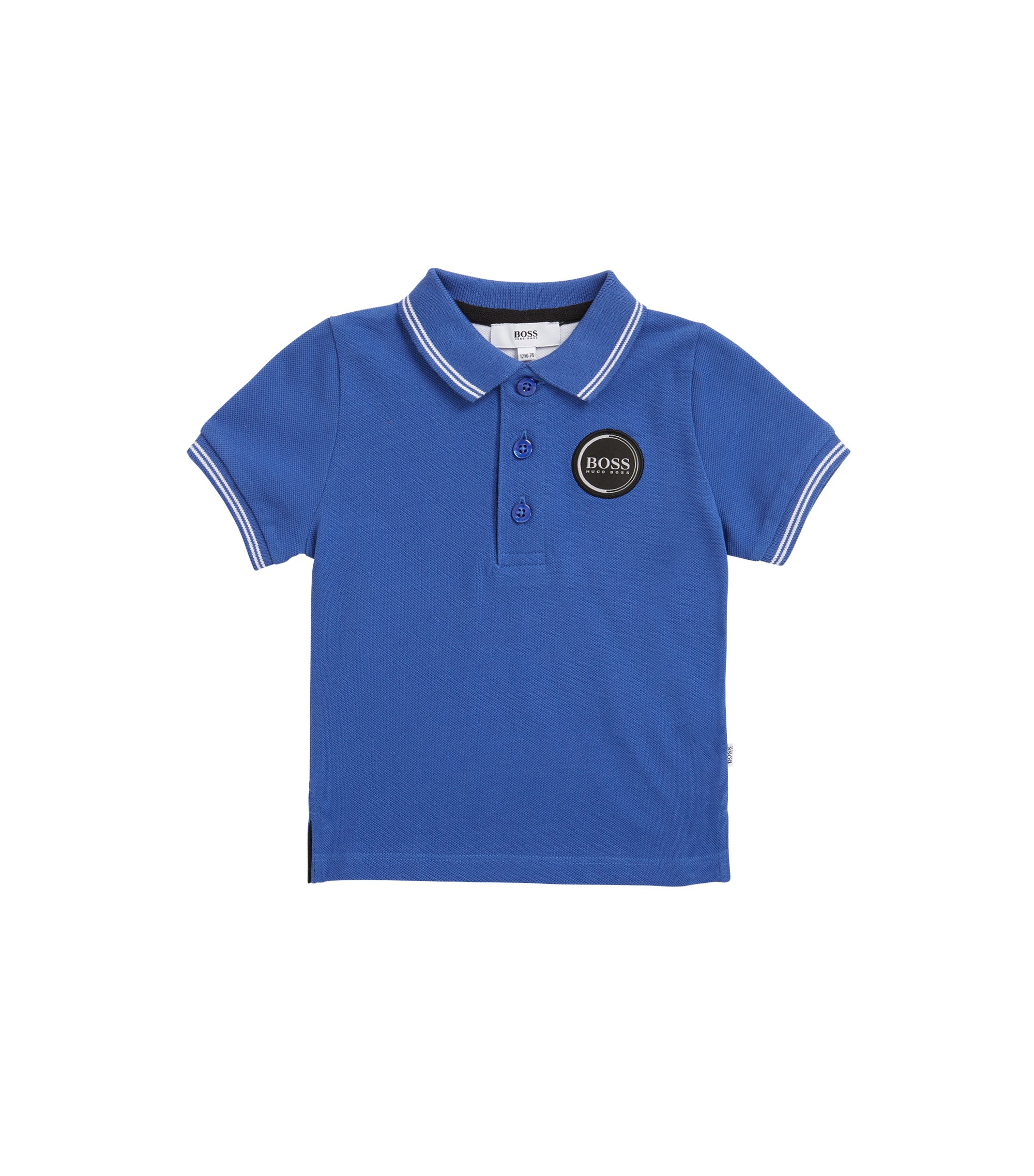 Kids' polo shirt in cotton pique with logo badge, Blue