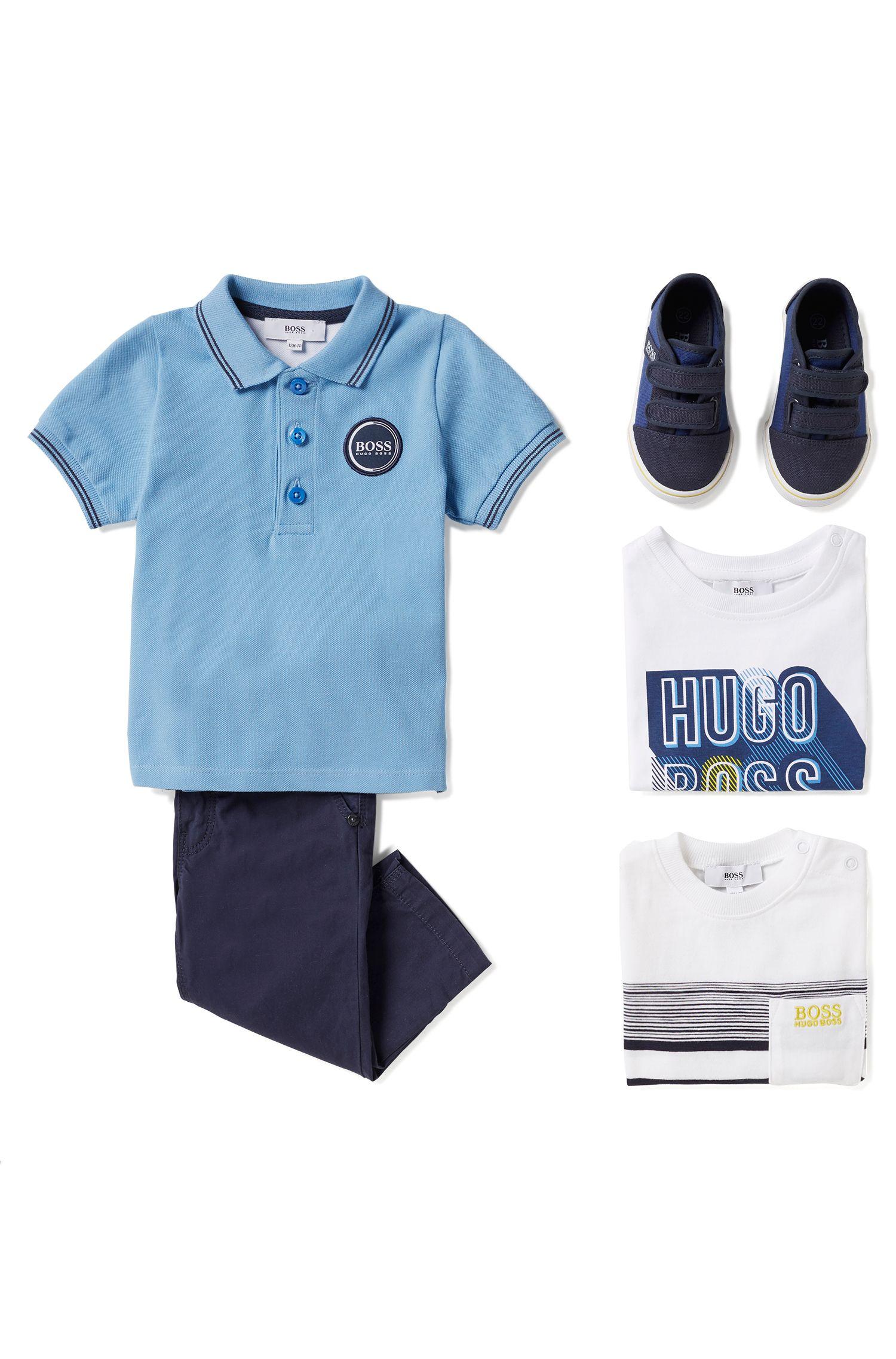 Polo pour enfant en piqué de coton avec badge logo, Bleu vif