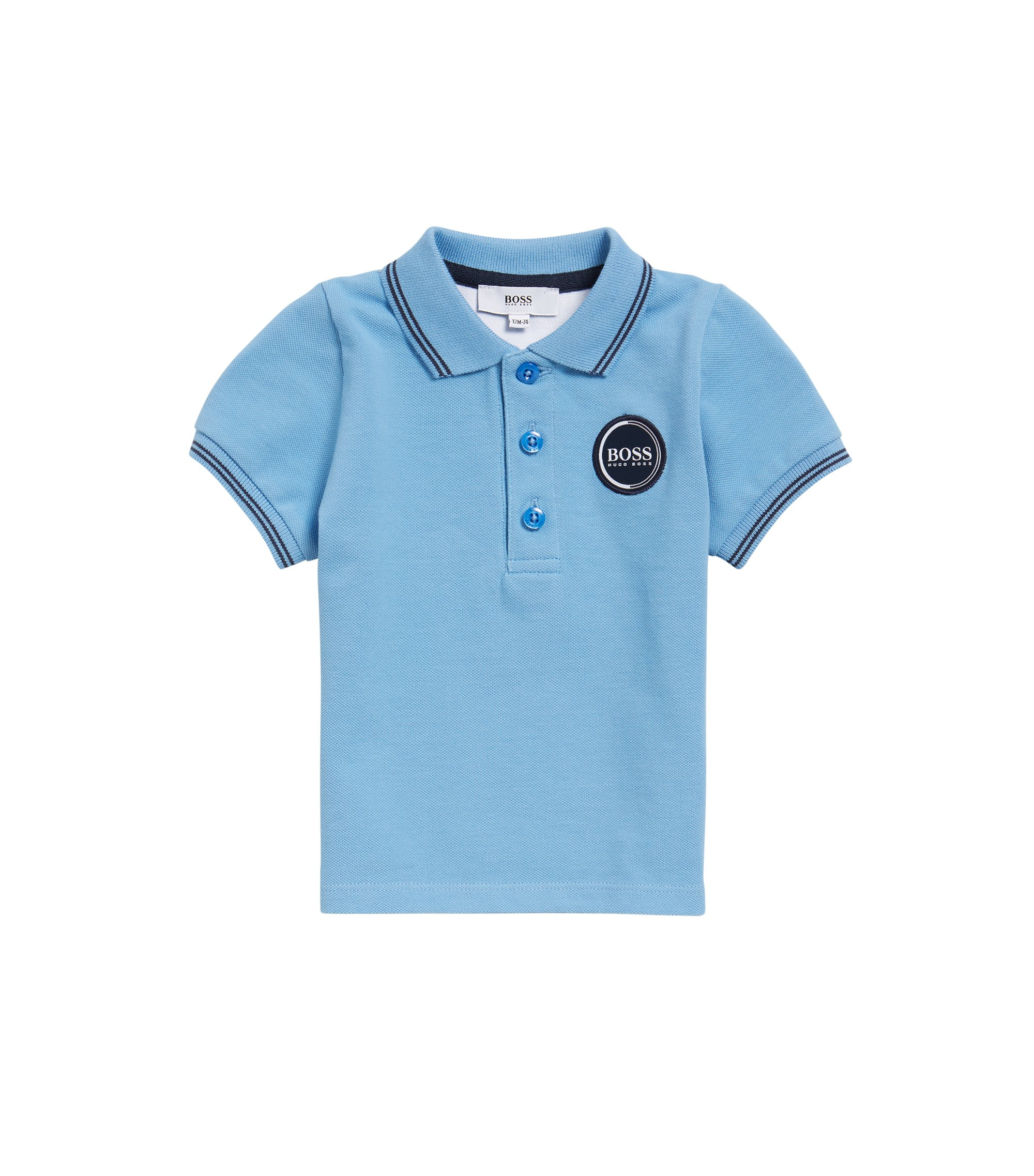 Kids' polo shirt in cotton pique with logo badge, Light Blue
