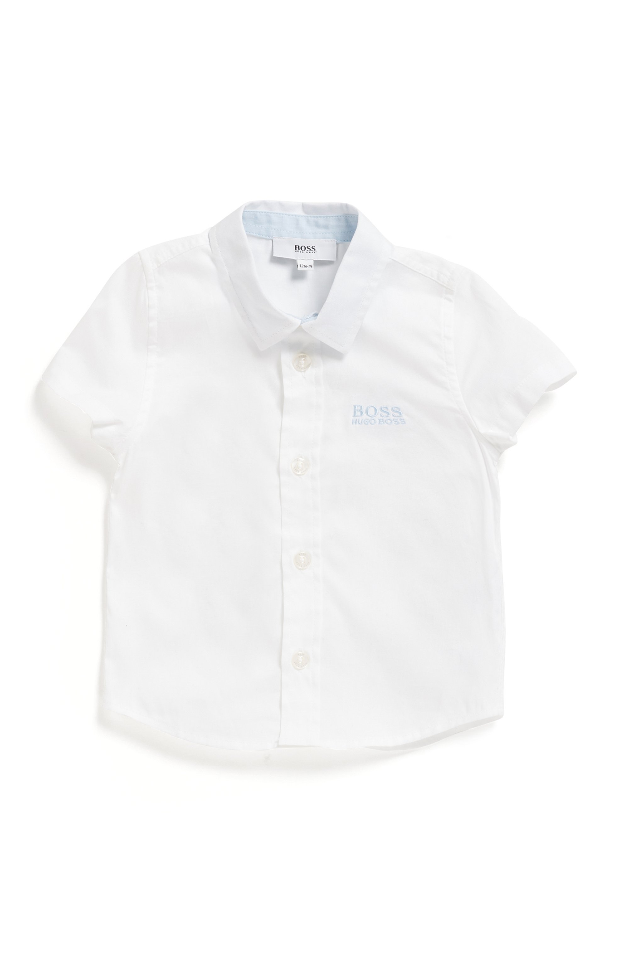Regular-fit kinderoverhemd met korte mouwen van zuivere katoen, Wit