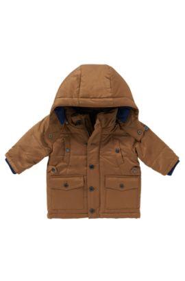 Gewatteerde jas met afneembare capuchon: 'J06119', Bruin