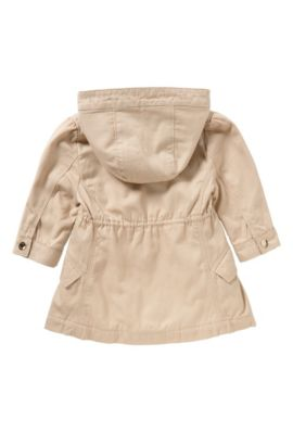 Newborns' hooded jacket in stretch cotton with a drawstring: 'J06140', Light Beige