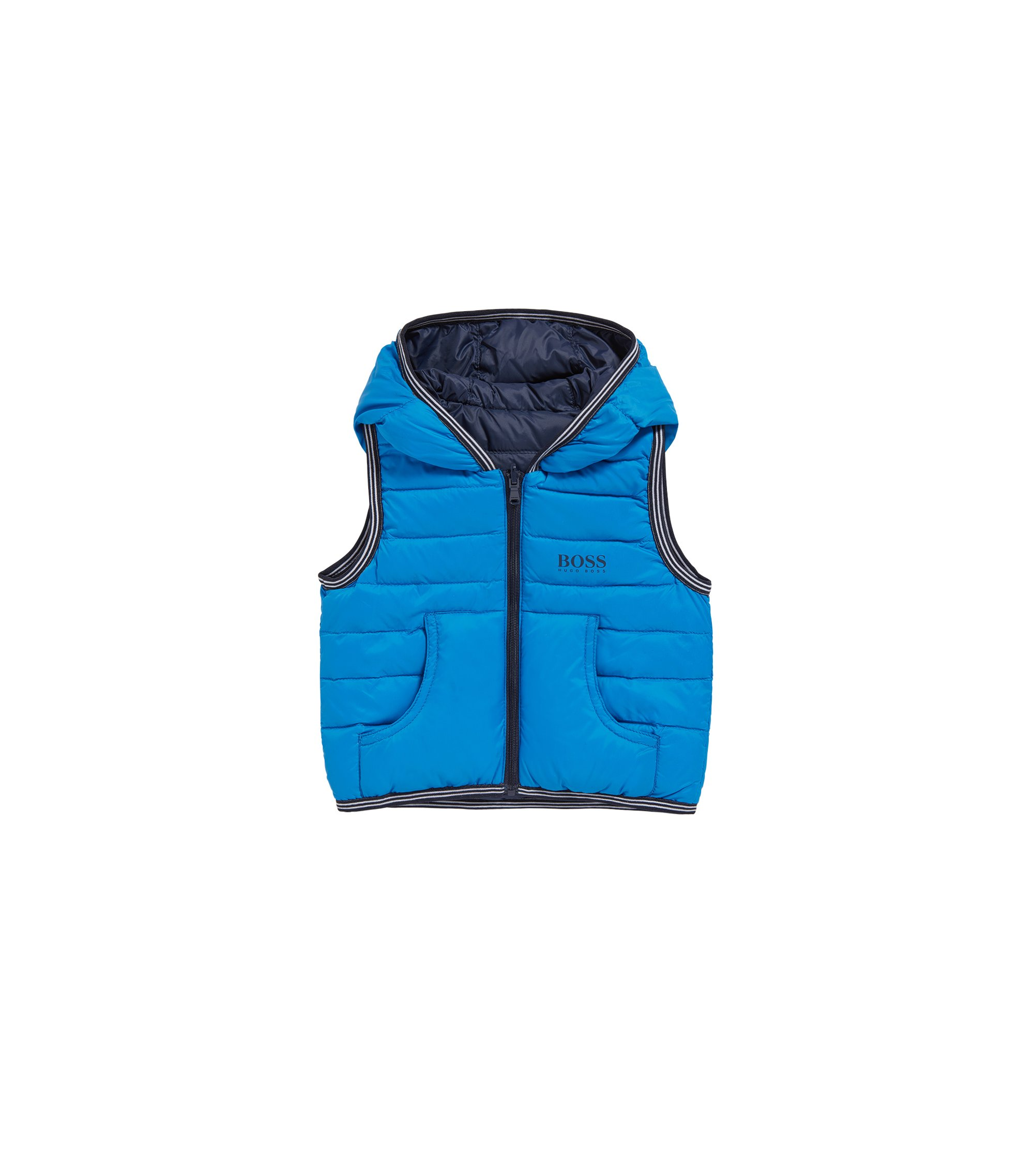 Kids' reversible down waistcoat in a material blend: 'J06147', Blue