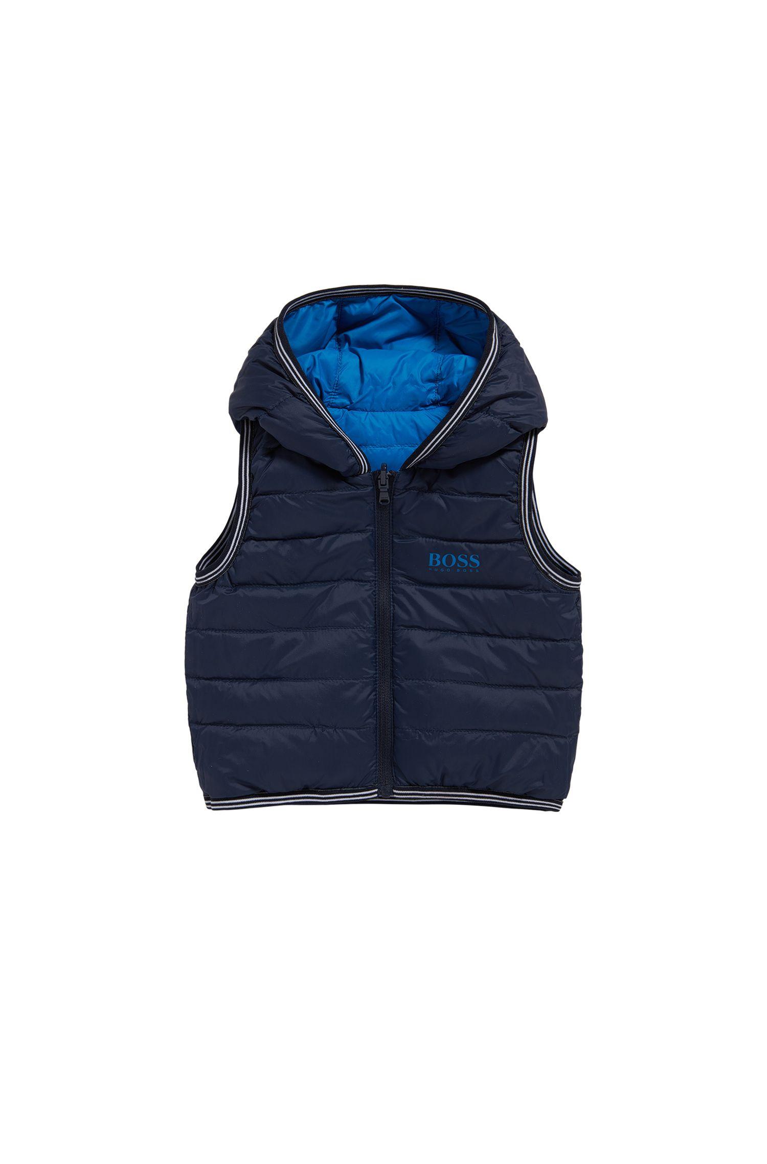 Tweezijdig te dragen donsbodywarmer van een materiaalmix voor kinderen: 'J06147'