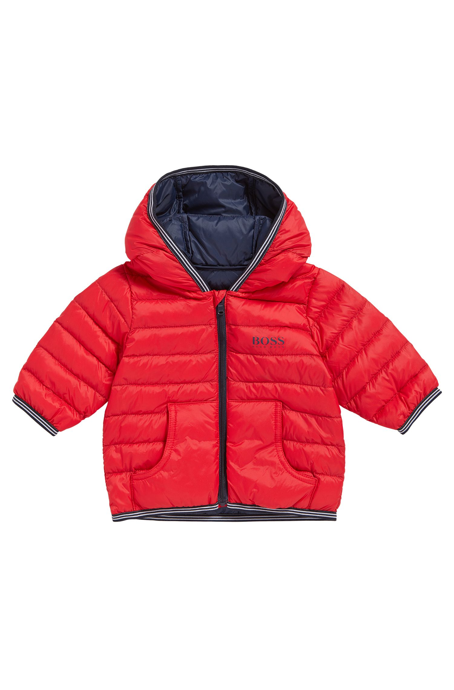 Kids' down jacket in mixed materials with a hood: 'J06148'