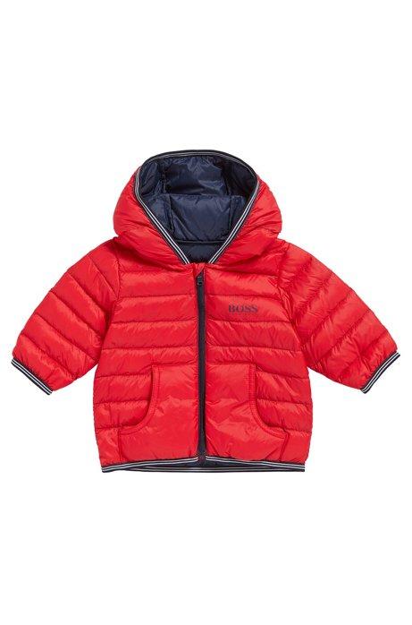 Cazadora de plumas para niño en mezcla de materiales con capucha: 'J06148', Rojo