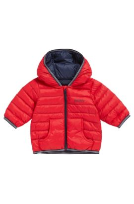 Kids' down jacket in mixed materials with a hood: 'J06148', Red