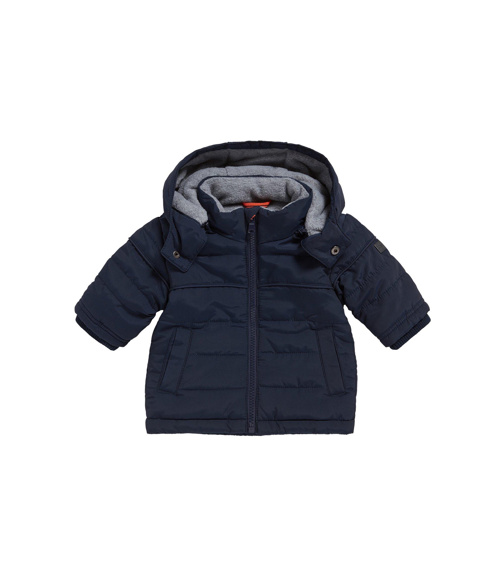 Baby-Jacke aus Material-Mix mit Kapuze und Fleece-Futter: 'J06149', Dunkelblau