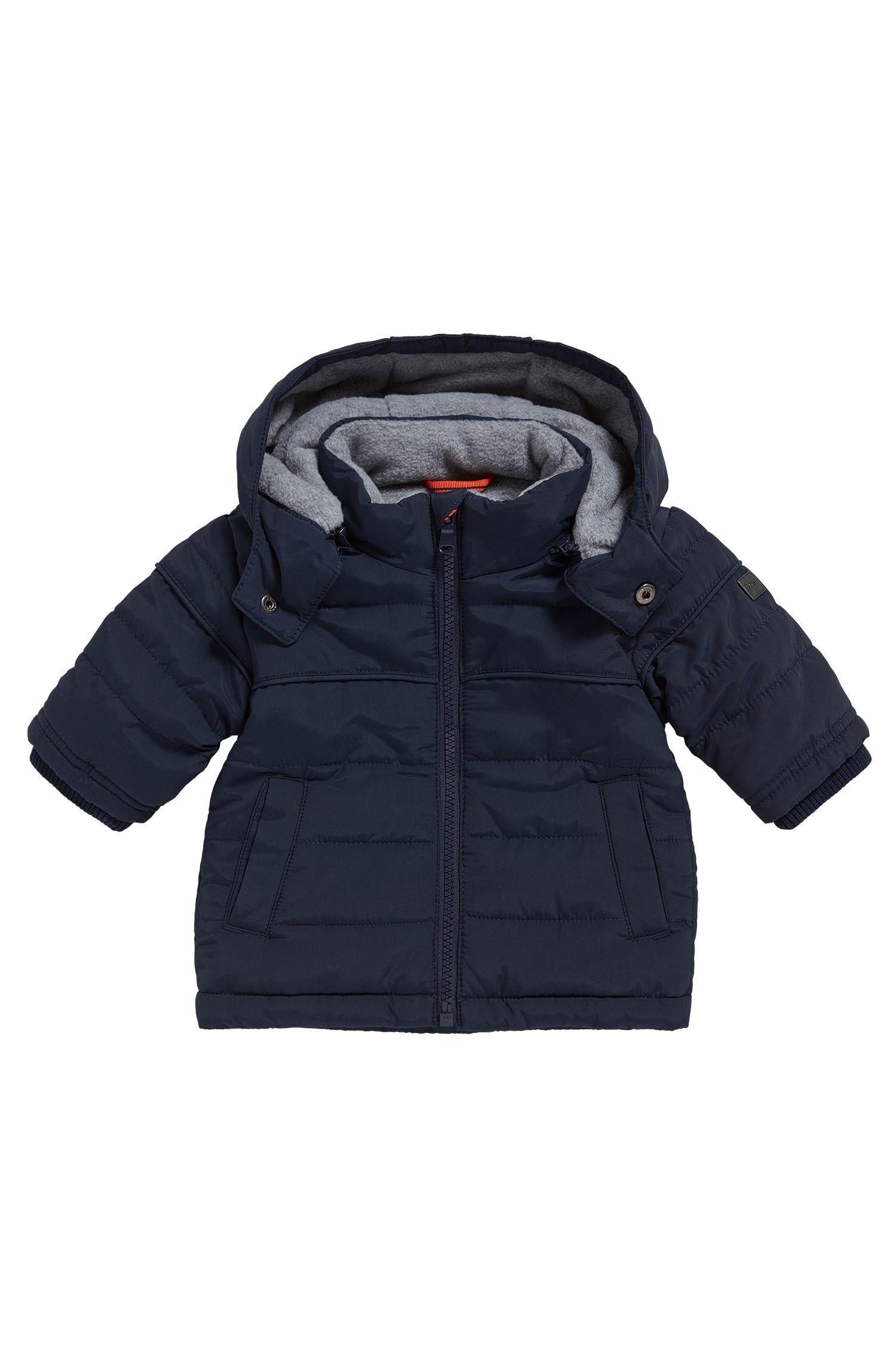 Baby-Jacke aus Material-Mix mit Kapuze und Fleece-Futter: 'J06149'