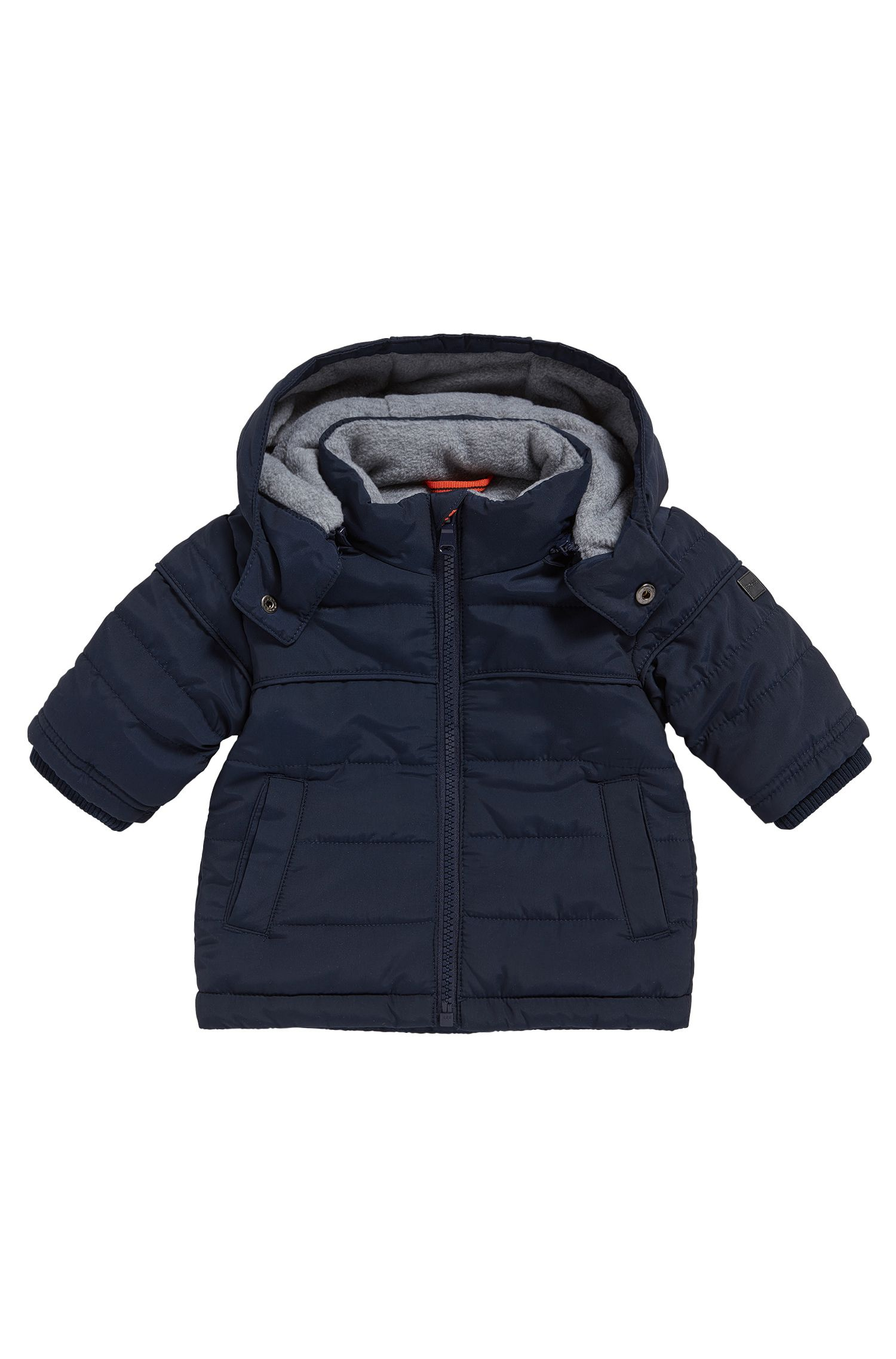 Hooded newborn's jacket in mixed materials with a fleece lining: 'J06149'