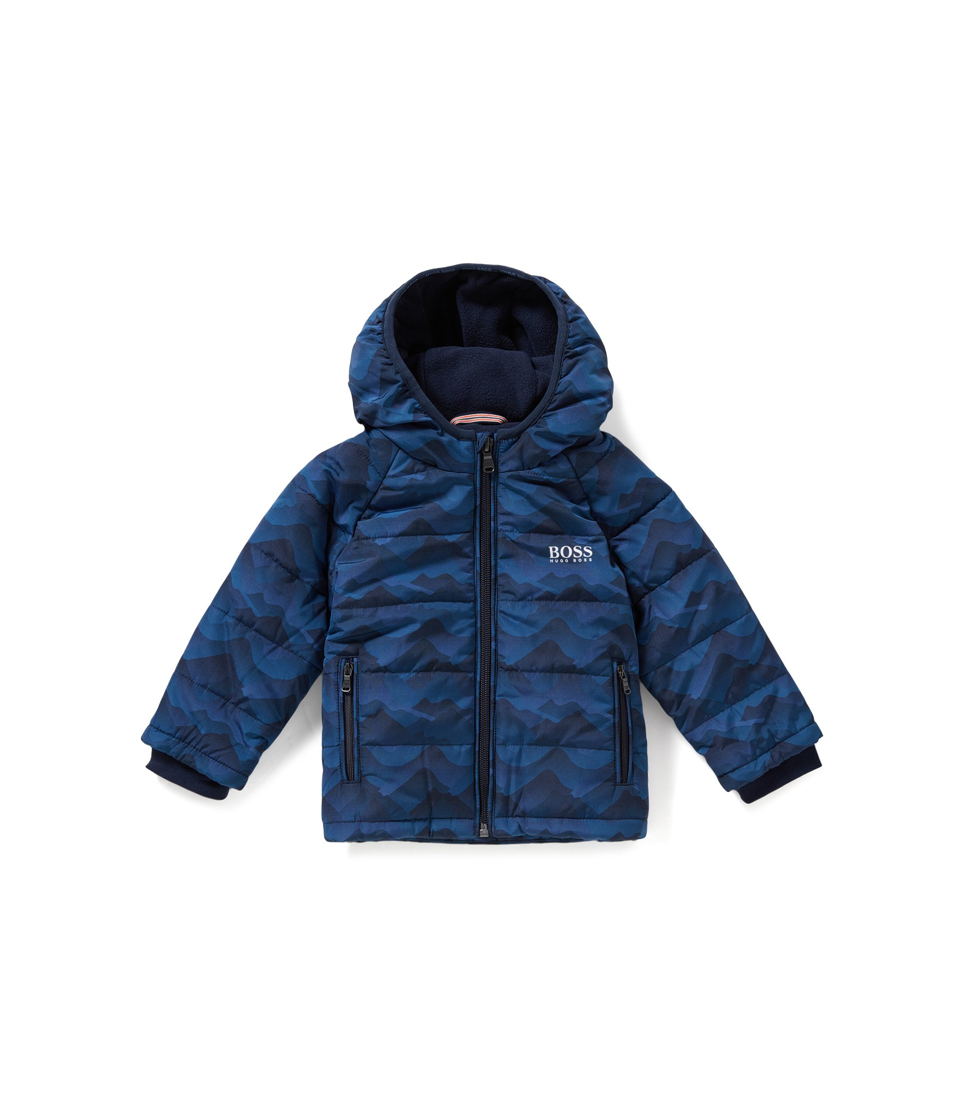 Wattierte Regular-Fit Kids-Jacke, Dunkelblau