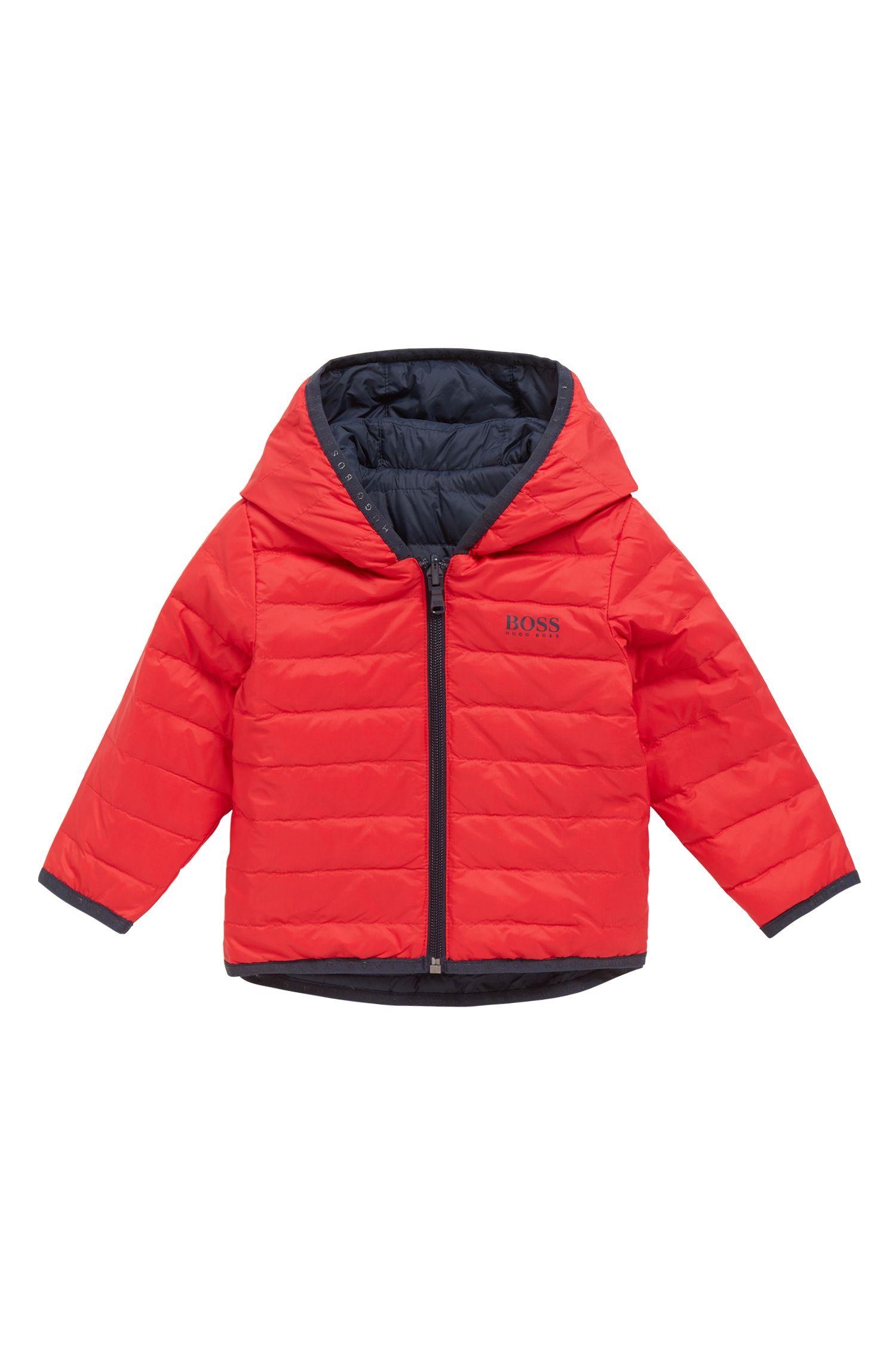Regular-fit kinderjas met donsvulling en omkeerbare buitenkant, Rood