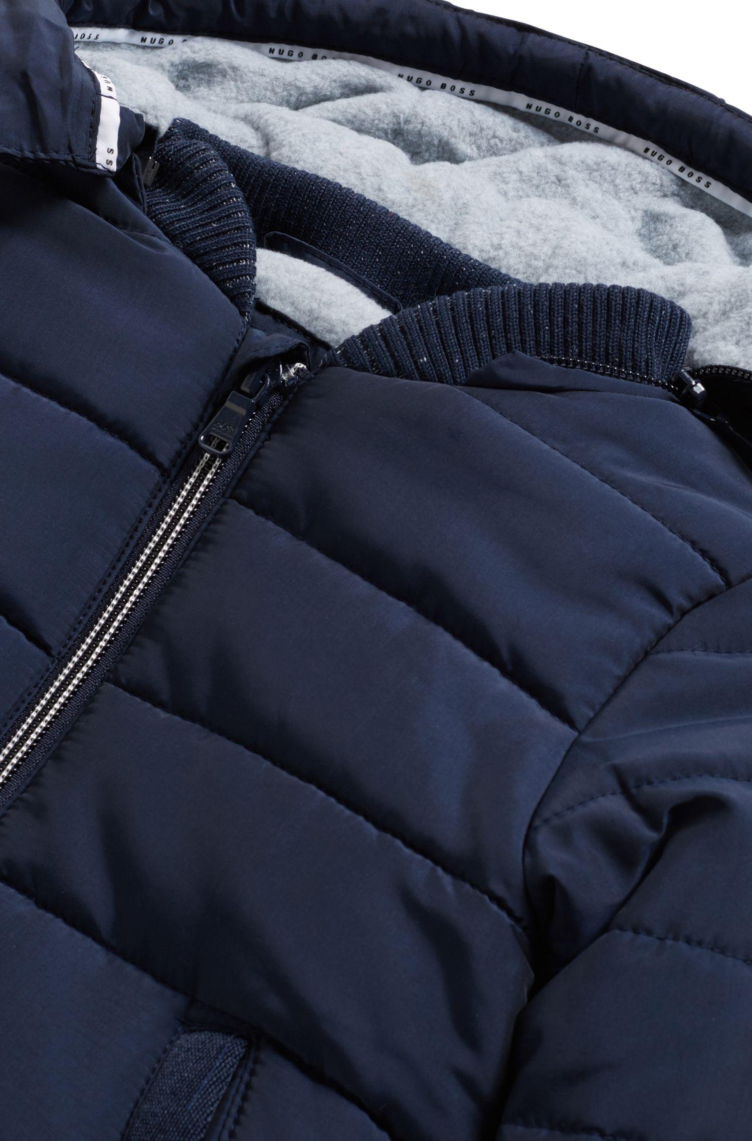 Cazadora acolchada regular fit para niños con capucha desmontable, Azul oscuro
