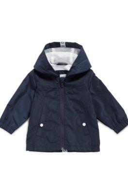 Parka déperlante pour enfant avec capuche à logo, Bleu foncé