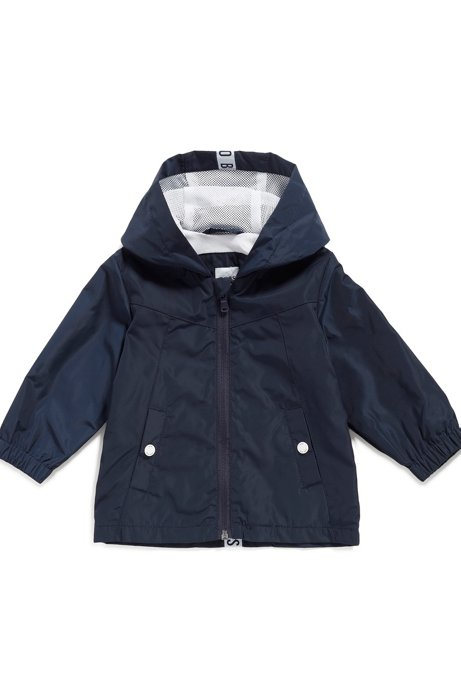 Kids' water-repellent parka jacket with logo-patch hood, Dark Blue
