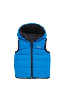 Tweezijdig te dragen kinderbodywarmer van gewaxt materiaal, Blauw