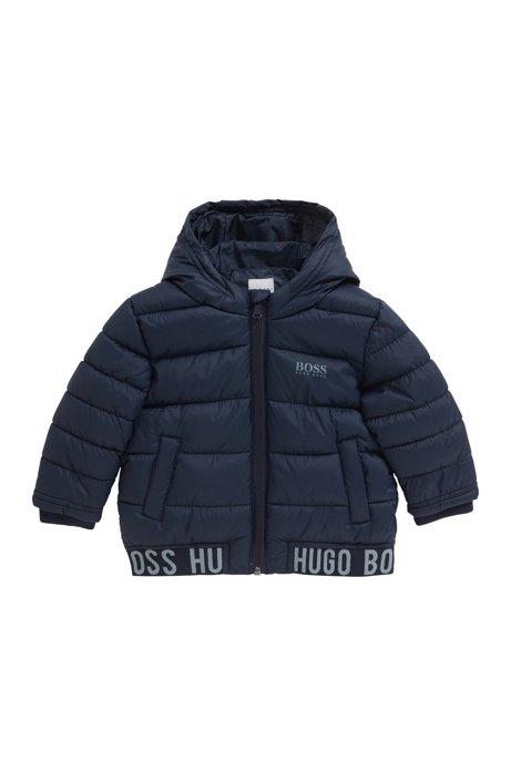 Kids' hooded puffer jacket in water-repellent fabric, Dark Blue