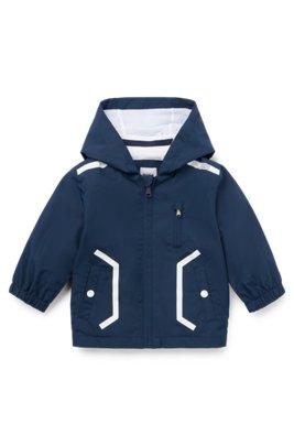 Coupe-vent à capuche pour enfant en tissu technique déperlant, Bleu foncé