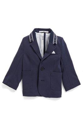 Veste pour enfant en coton mélangé avec col logo, Bleu foncé