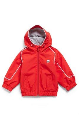 Kids' hooded windbreaker in waterproof fabric with rear logo, Red
