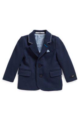 Giacca da bambino in jersey Milano con pochette da taschino coordinata, Blu scuro
