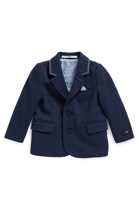 Kids' jacket in Milano jersey with coordinating pocket square, Dark Blue