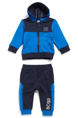 Kids' tracksuit in stretch cotton with logo details, Patterned