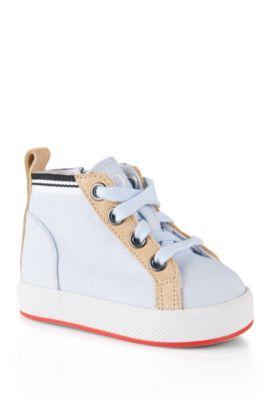Schoenen om te leren lopen, met leerdetails: 'J09064', Lichtblauw
