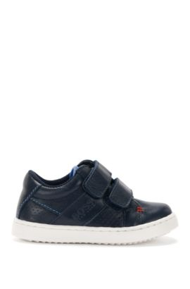Leather newborn shoes with contrasting sole: 'J09081', Dark Blue