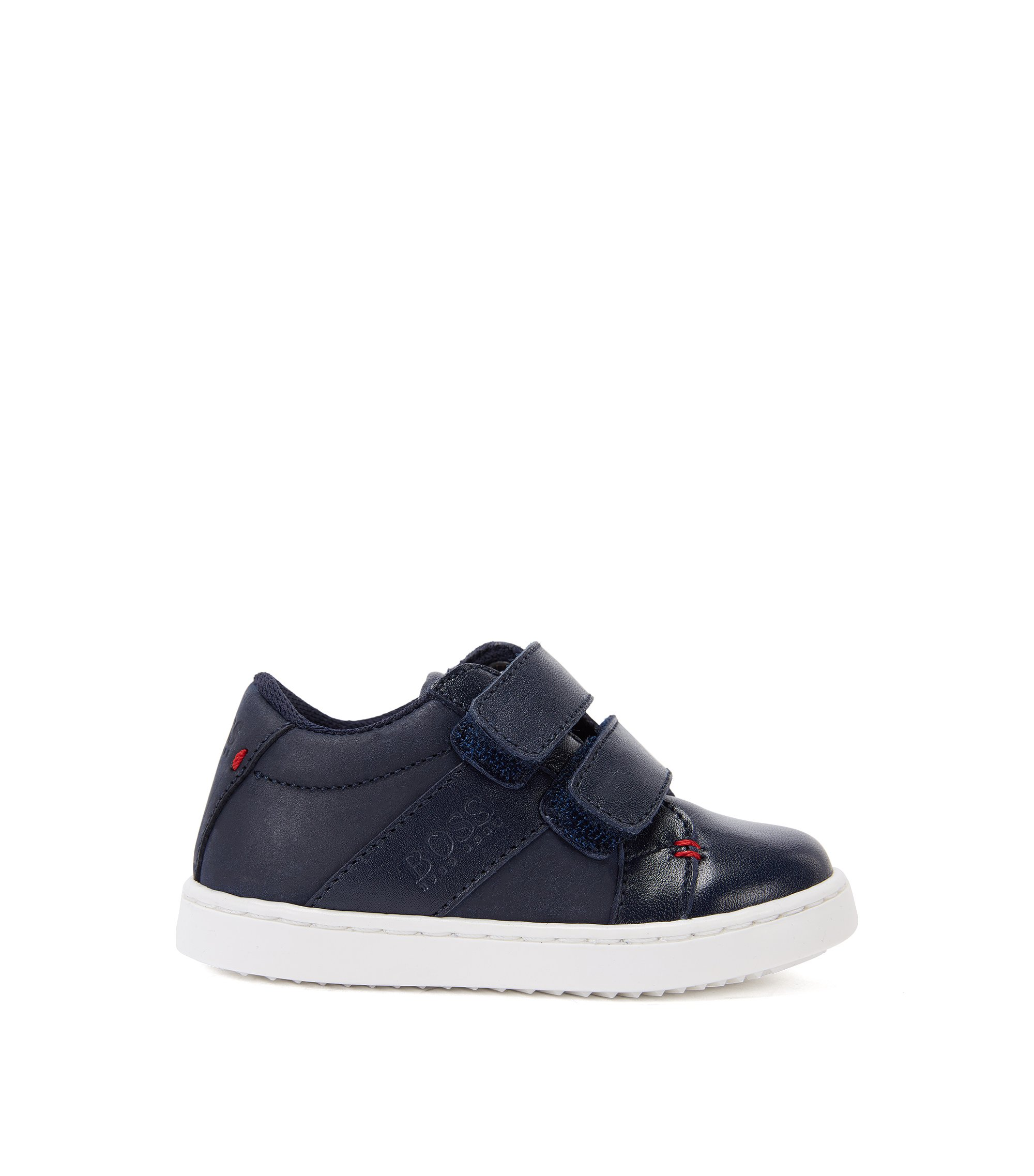 Kids-Sneakers aus Leder mit Klettverschluss: 'J09085', Dunkelblau