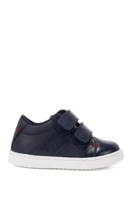 Kids' leather trainers with touch closure: 'J09085', Dark Blue
