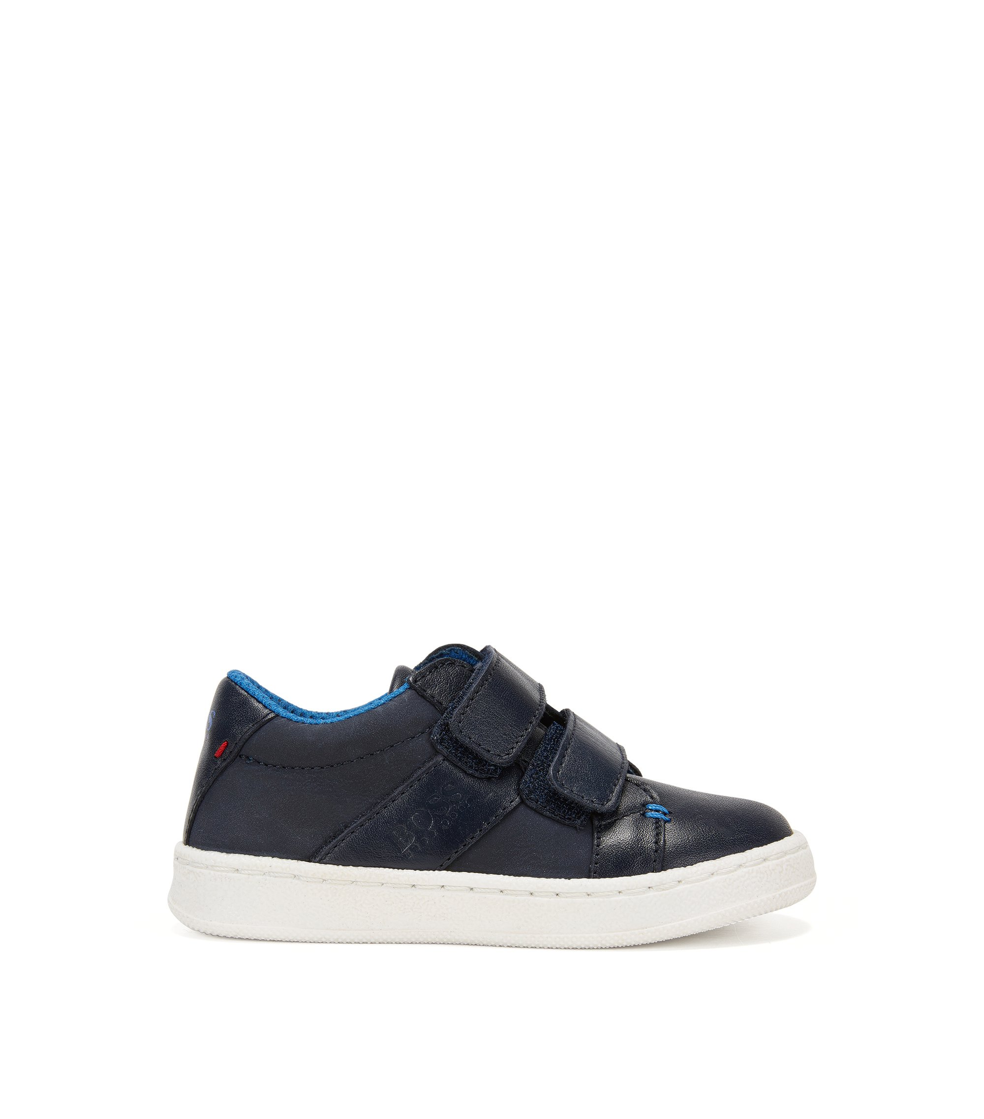 Kids' leather trainers with touch closure: 'J09089', Dark Blue