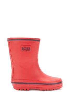 Kids' wellington boots in durable rubber, Red