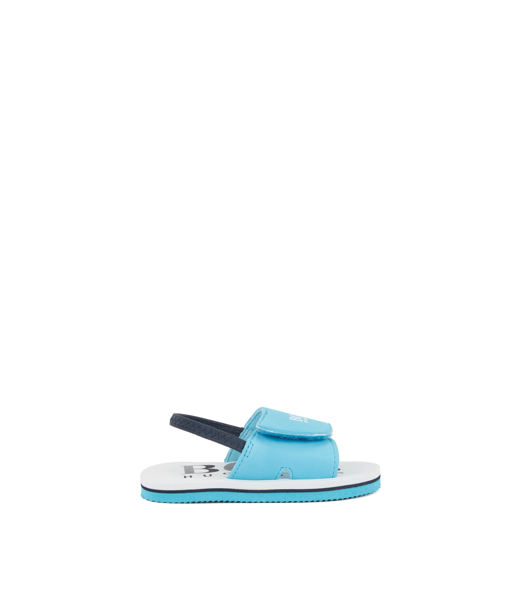 Kids' logo-print sandals with touch fastening, Light Blue