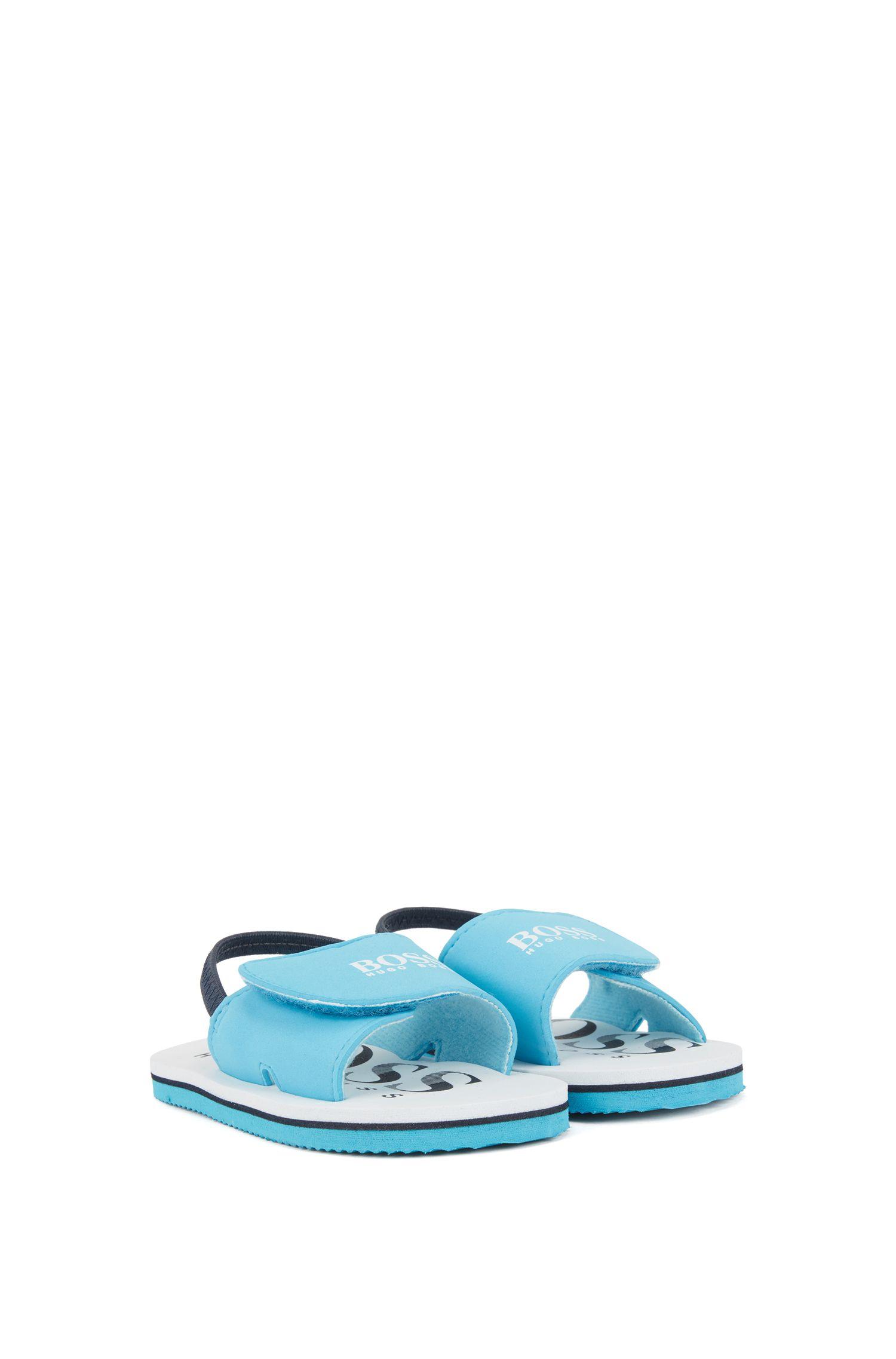 Kids-Sandalen mit Logo-Print und Klettverschluss, Hellblau