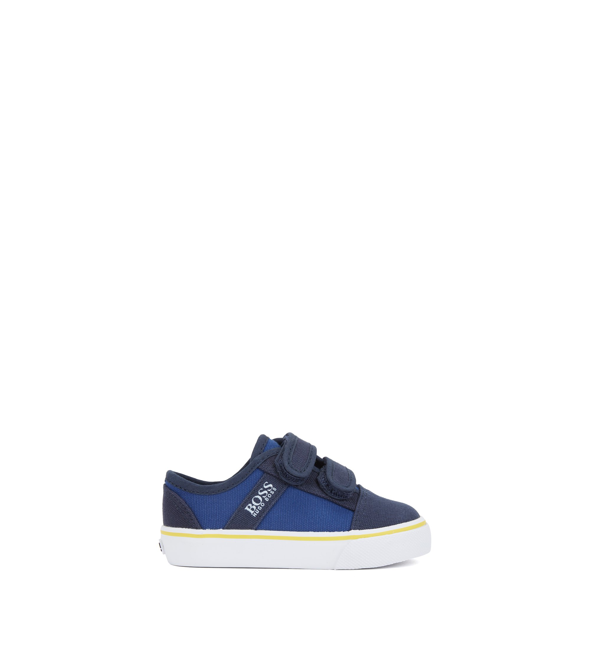 Kids' canvas trainers with touch-fastening straps, Blue