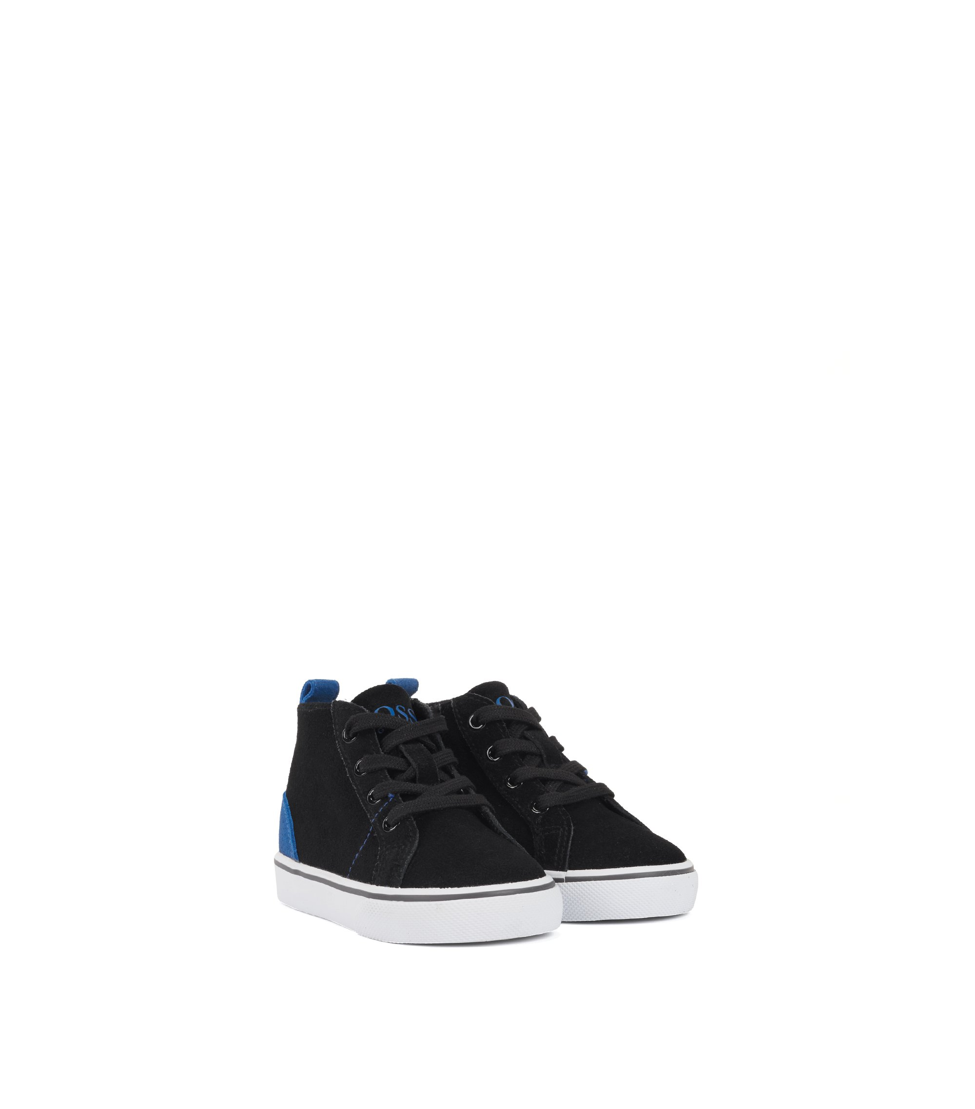 Kids' high-top trainers in suede with contrast details, Black