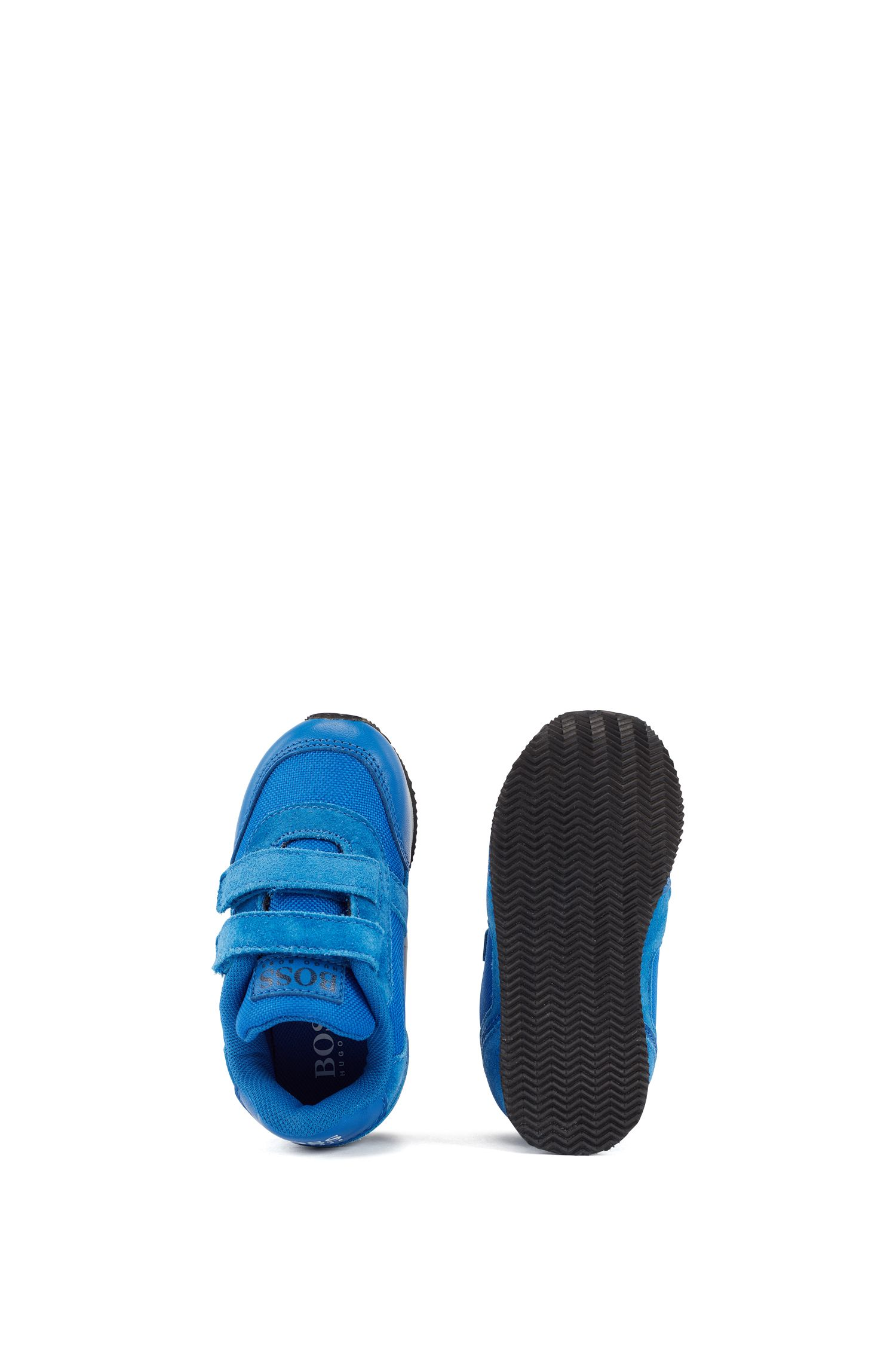 Leren kindersneakers met klittenbandsluiting, Blauw