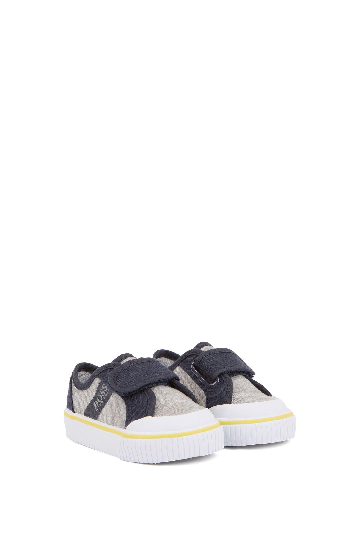 Sneakers da bambino in tela di cotone con chiusura a strappo, Grigio chiaro